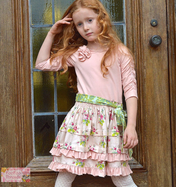 Evaline Pintucks and Roses Knit Bodice Dress Girls PDF Sewing Pattern