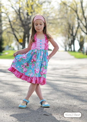 Wild Orchid Ruched Sweetheart Girls Halter Top & Dress PDF Sewing Pattern