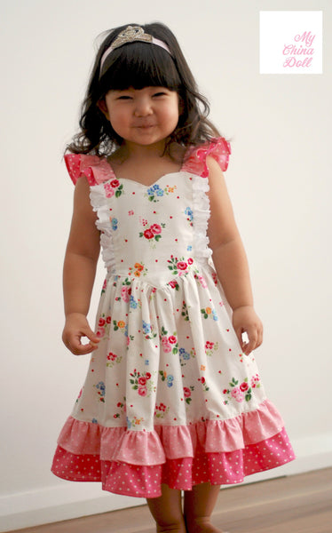 Dreamweaver Girls Flutter Strap Princess Dress PDF Sewing Pattern