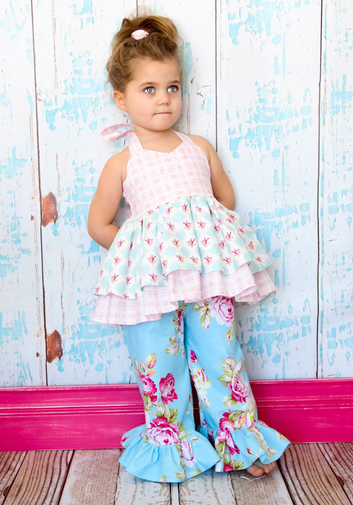 Girls Halter Dress And Double Ruffle Pdf Sewing Pattern Foofoo