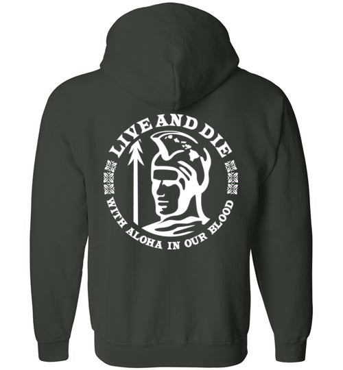 Bad Tuna T-shirt Co. LIVE AND DIE ALOHA HOODIE Gildan Zip Hoodie hi-50 local salt