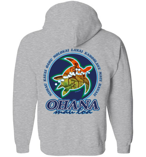 Bad Tuna T-shirt Co. OHANA MAU LOA HONU ZIP HOODIE hi-50 local salt