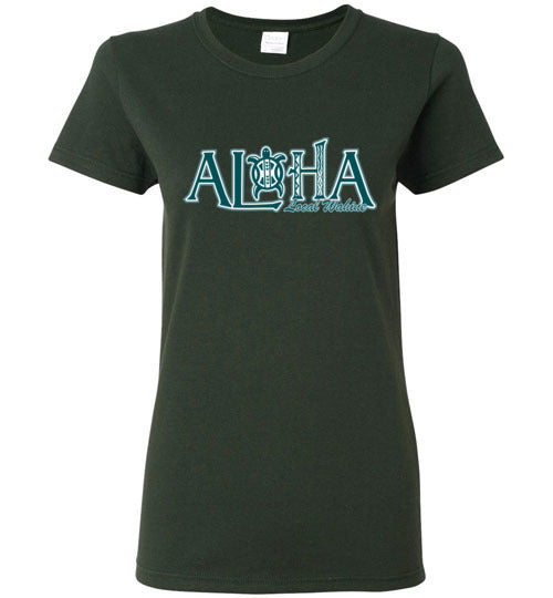 Bad Tuna T-shirt Co. LOCAL WAHINE ALOHA HONU T-SHIRT local wahine
