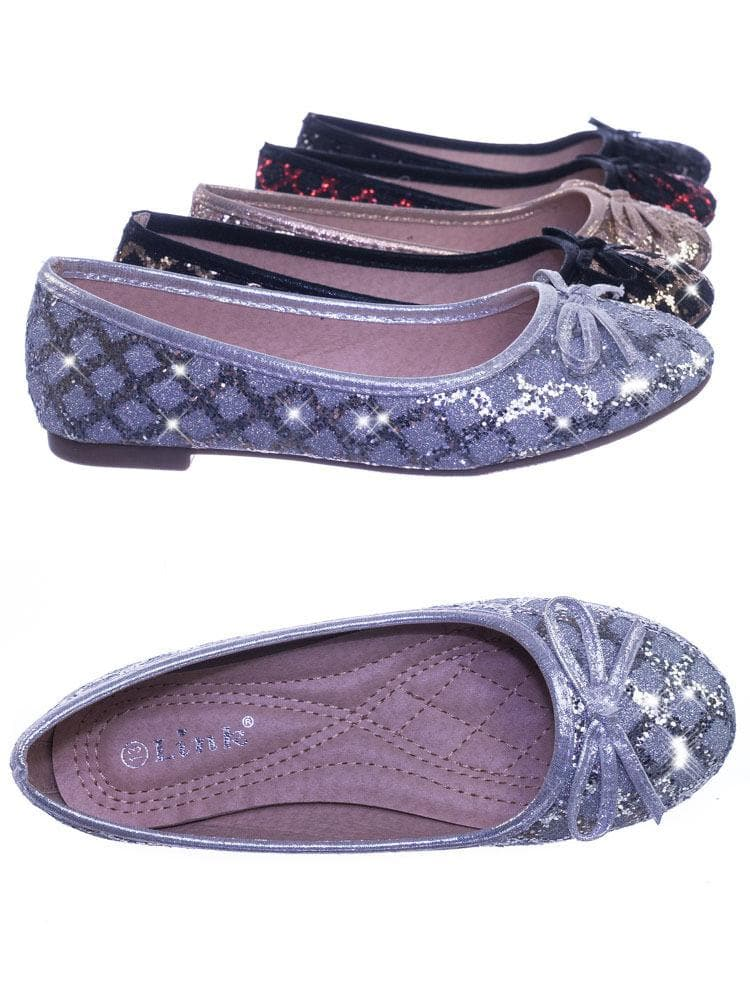 Karra46 All Silver Children Girls Fancy Round Toe Ballet Flat w Criss Cross Glitter