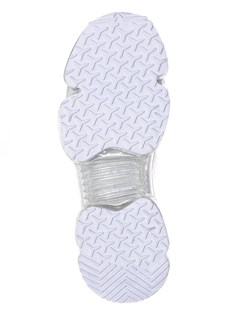 White / Flow19 Stretch Elastic Mesh Sneaker - Festival Lace Up Rubber Air Bubble Cushion