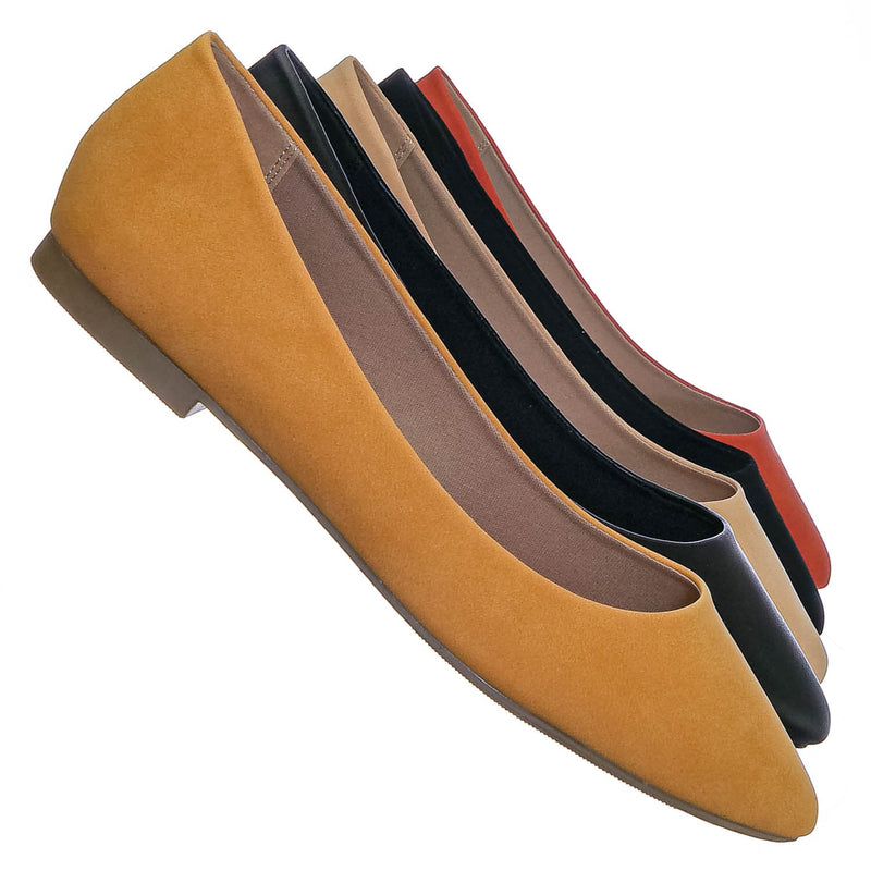 Mango Yellow / Hold Pointed Toe Foam Padded Ballet Flat - Wide Width Women Comfort Loafers