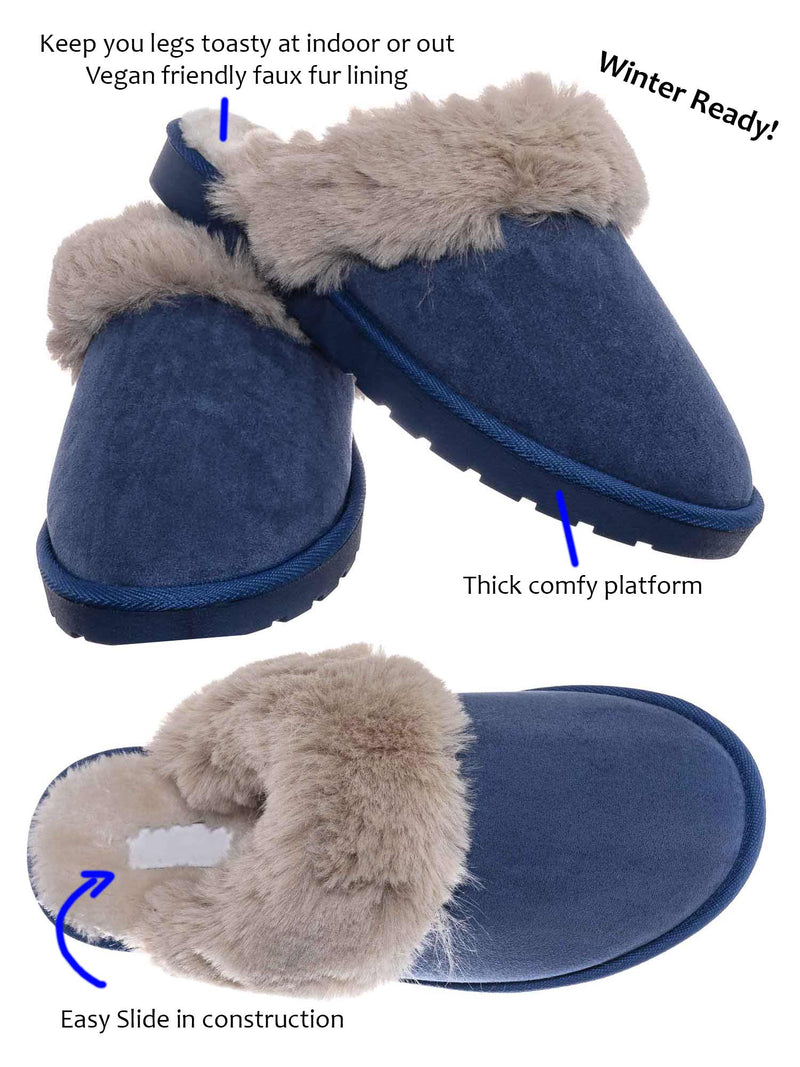 D Blue  / Snuggle01 Winter Cozy House Slipper - Vegan Friendly Faux Fur Slip On Mule