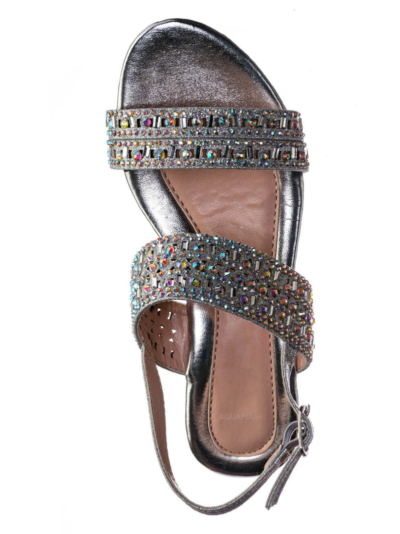 Silver Glitter / Nora1 Girls Rhinestone Crystal Sandal - Childrens Open Toe Glass Heel Dress Shoe