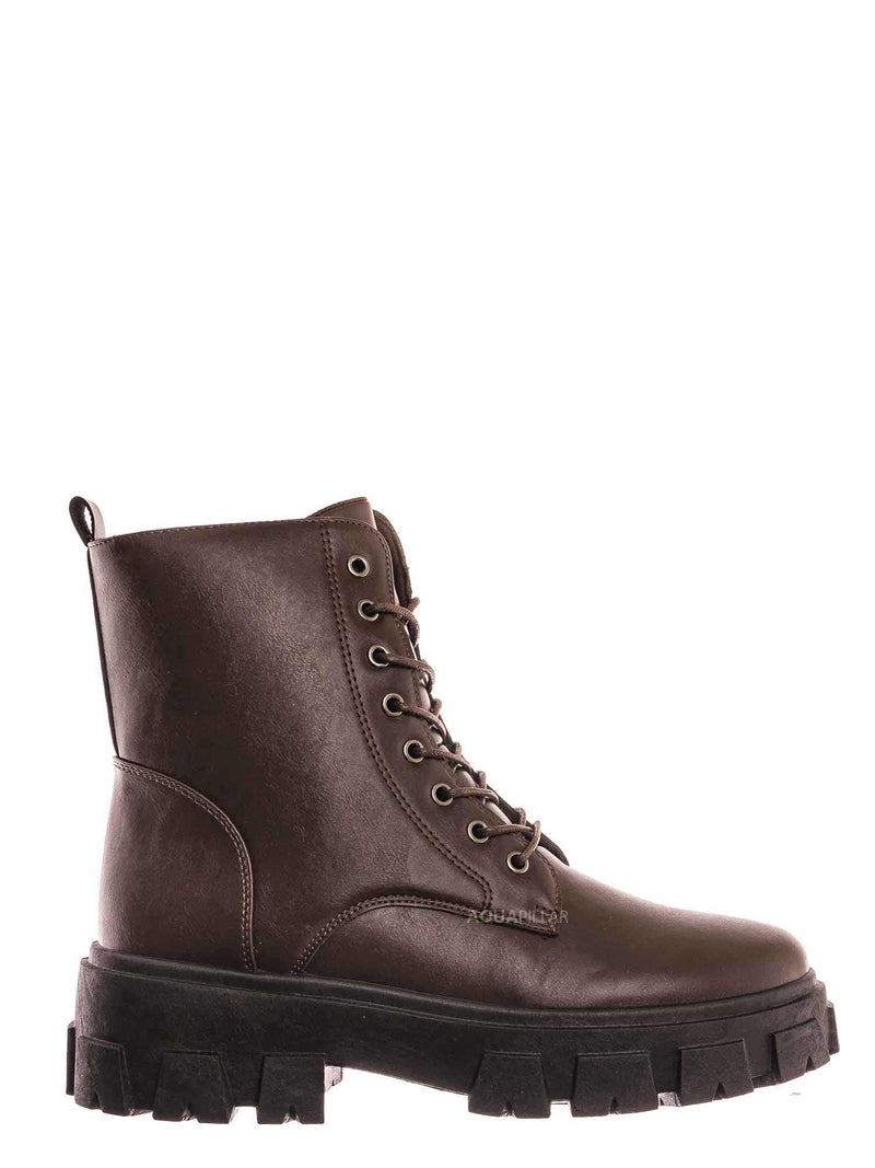 Brown / Lux1 Chunky Platform Combat Boots - Threaded Lug Sole Military Fashion Bootie
