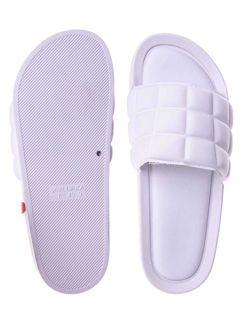 White / Comex16 Boho Quilted Padded Sandal - Women Slide Molded Footbed Slipper Sandal