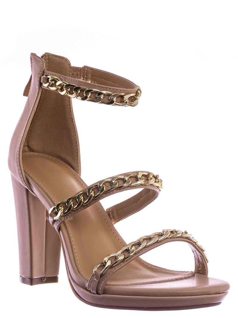 Nud Beige / Choo28 High Heel Chain Sandal - Womens Block Heel Strappy Open Toe Shoes