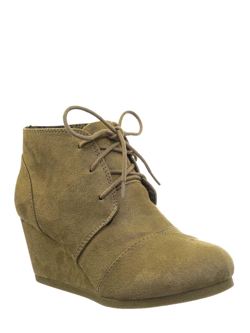 Rex Light Taupe  Hidden Wedge Heel Bootie - Women Lace Up Oxford Ankle Boots