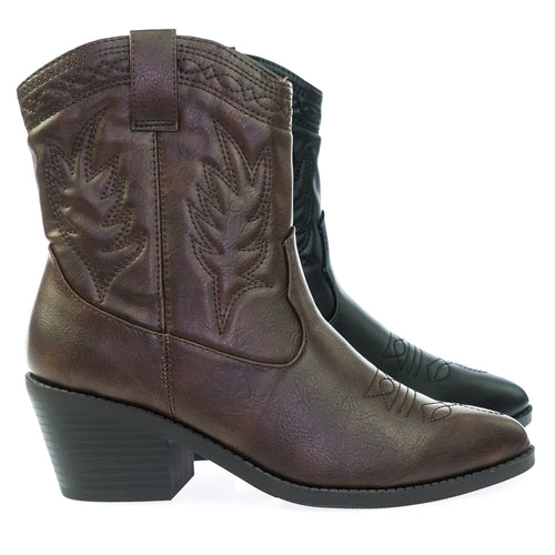 Picotee BrownPu High Ankle Western Cowboy Boots, Chunky Stack Block Heel & Stitch Detail
