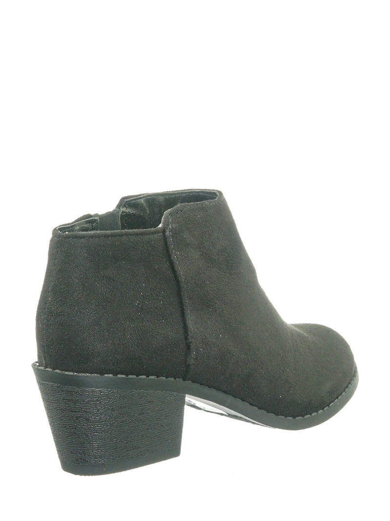 Black on Black / MugIIS Girls Simple Ankle Bootie - Children Kids Round Toe Block Heel Boots