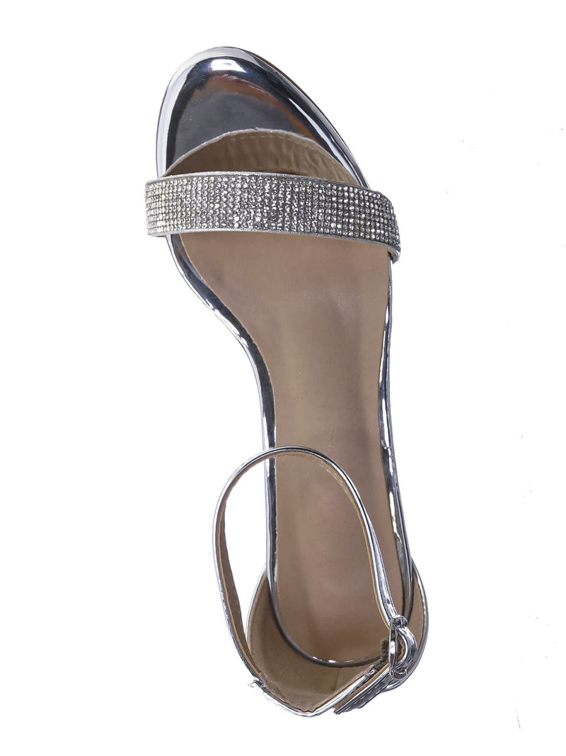 Silver Pu / Rise9k Childern Rhinestone Low Heel Sandals - Girls Crystal Dressy Open Toe Shoe