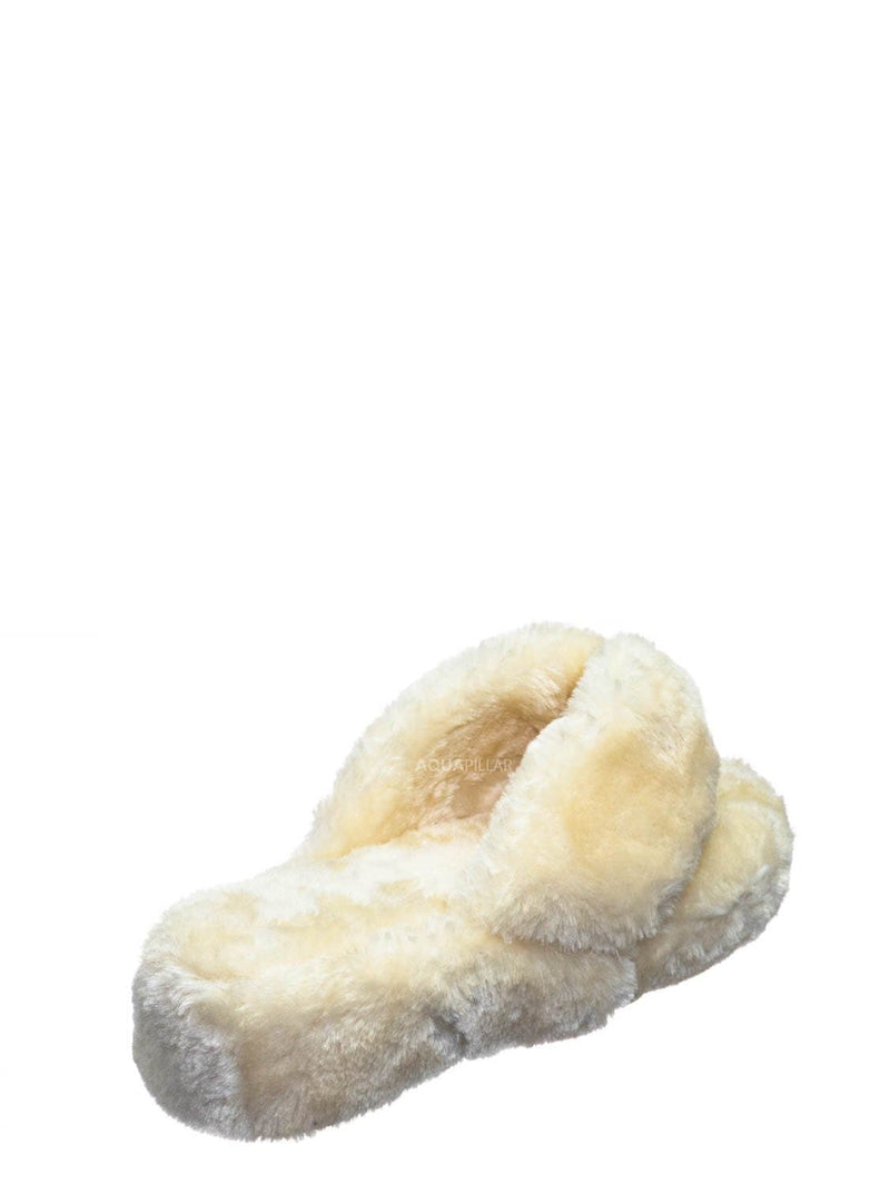 Off White / Warmness05 Fluffy Faux Rabbit Fur Sandal - Flatform Thong Flip Flop Slipper