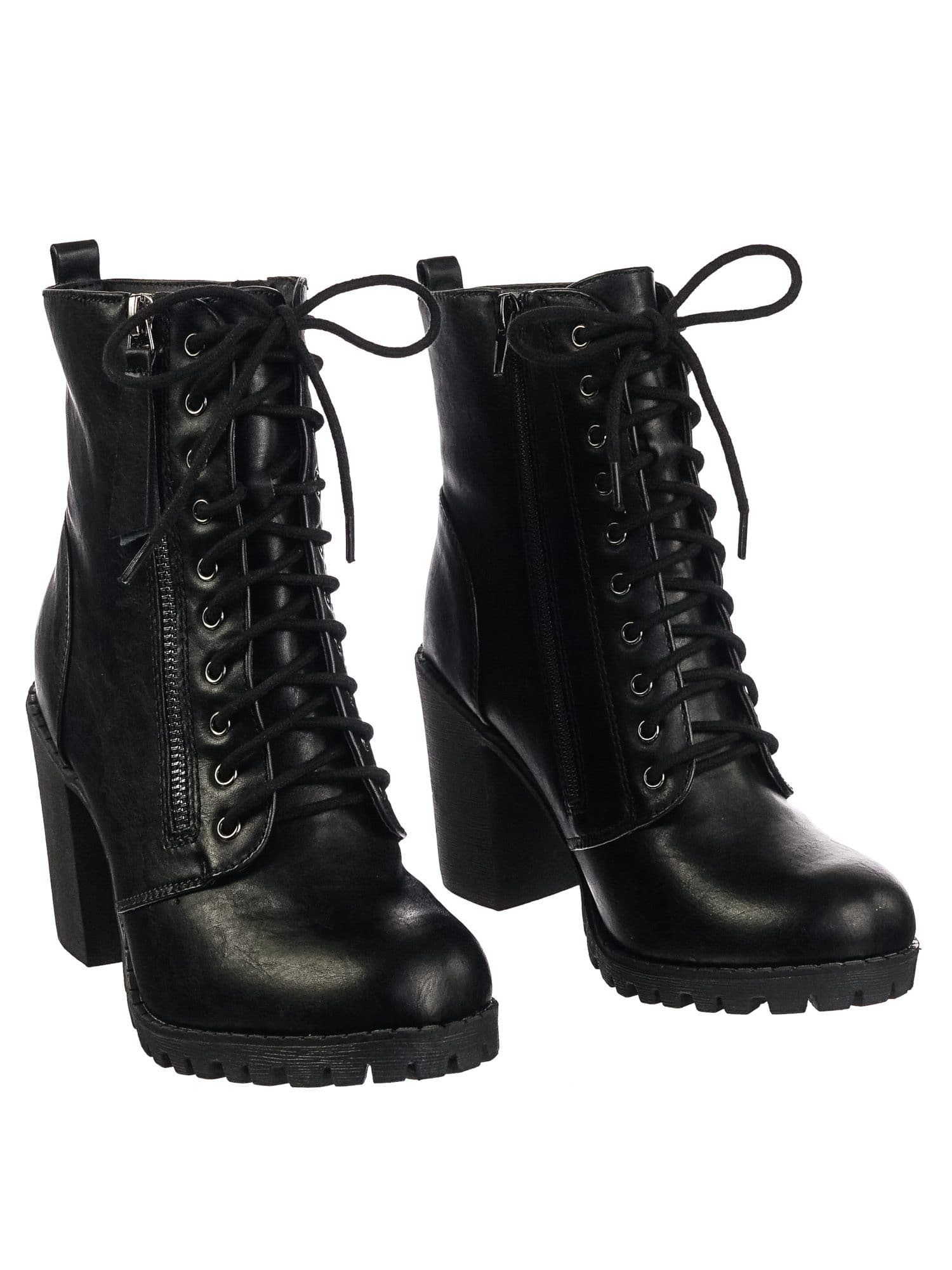 Malia BlackPu Military Lace Up Combat Ankle Boot On Chunky Block Heel Lug Sole Bootie