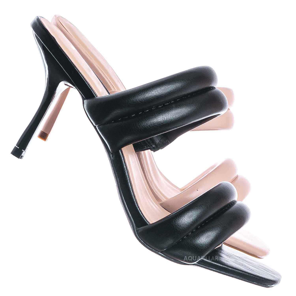 Black / Sharpen17 High Heel Puffy Slide Sandal - Women Stiletto Bubble Padded Slippers