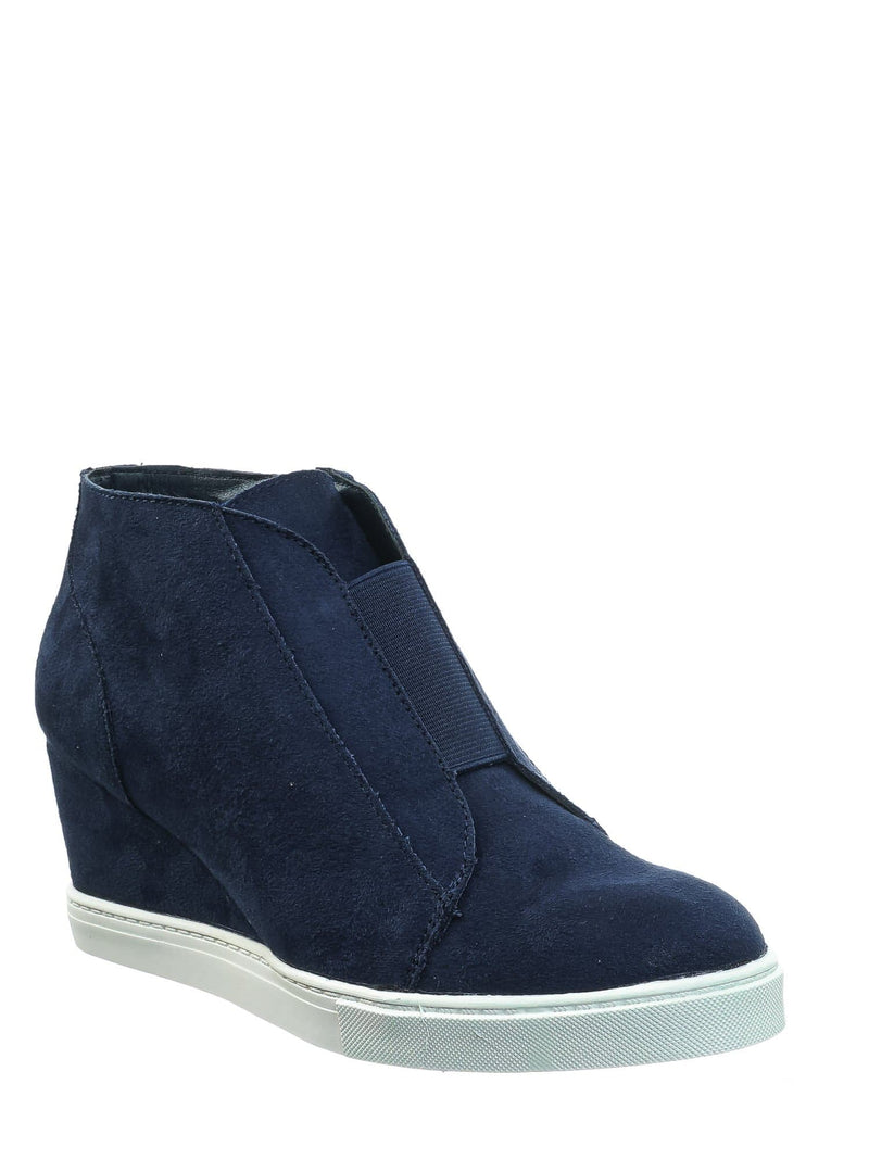 Navy Blue / Vesper Navy Blue Hidden Wedge Heel Sneakers - Women Sporty Elastic Shootie