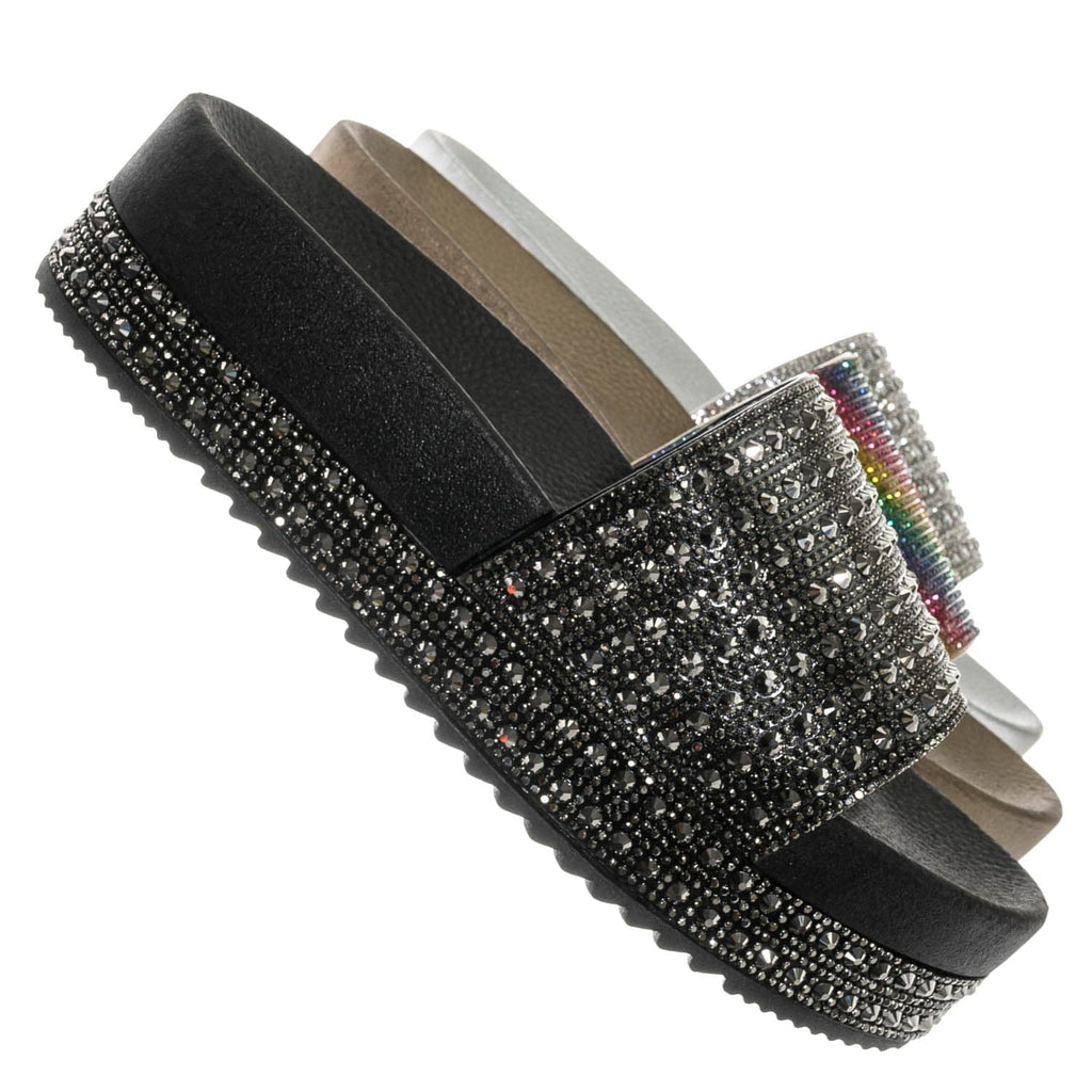 Rainbow Jelly / Night03 Rhinestone Crystal Flatform Footbed Slide - Flat Platform Molded Slipper