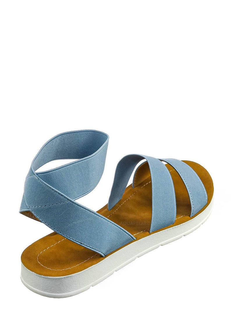 Light Blue / Sushi Lightweight Elastic Flatform Sandals Slip On - Womens Open Toe Flat Shoe