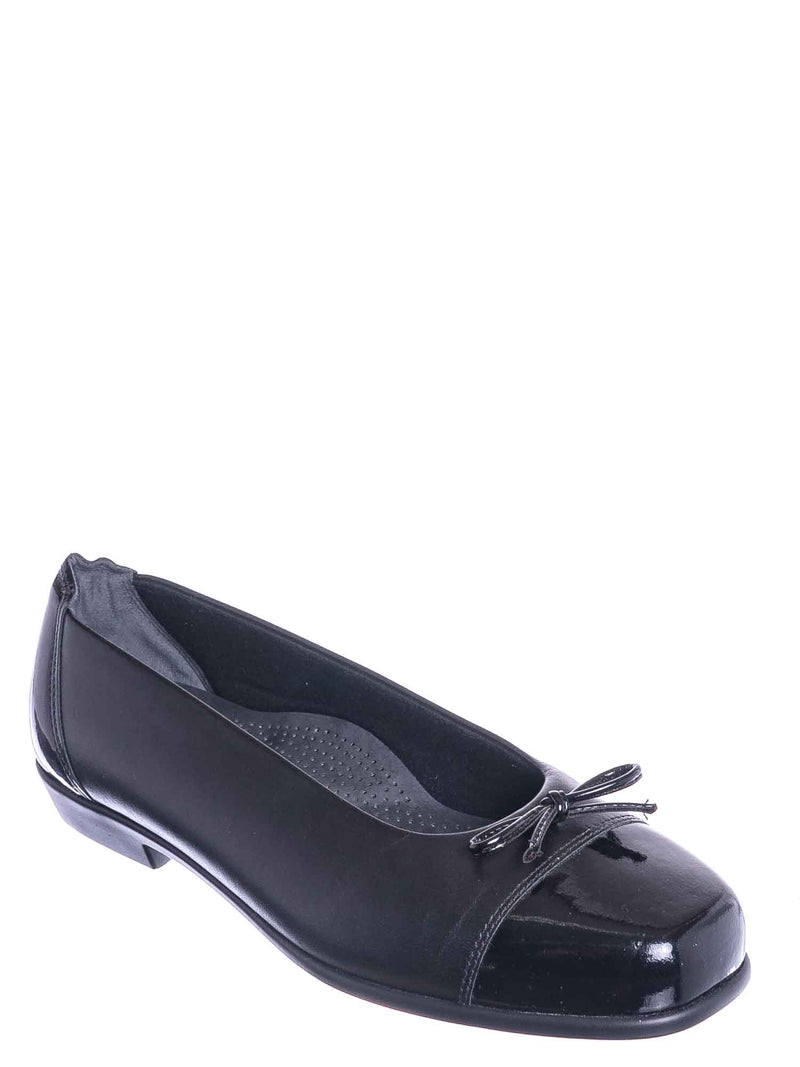 Black / Coco Bow Tie Slip On Ballarina Loafer - Women Flat Cap Toe Slip On Shoes