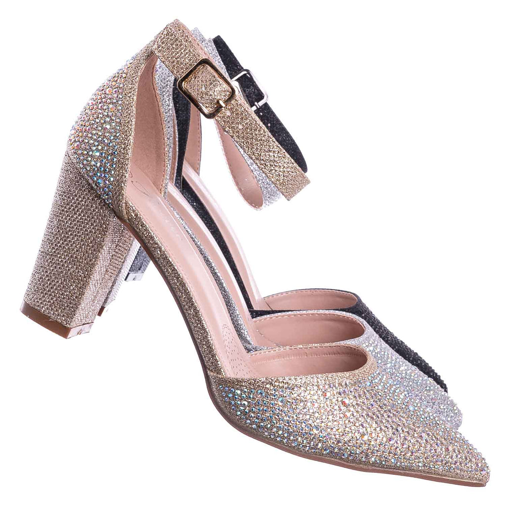 Champagne Gold / Songful7 Rhinestone Chunky Block Heel Pump - Womens Dressy Ankle Strapped Shoe