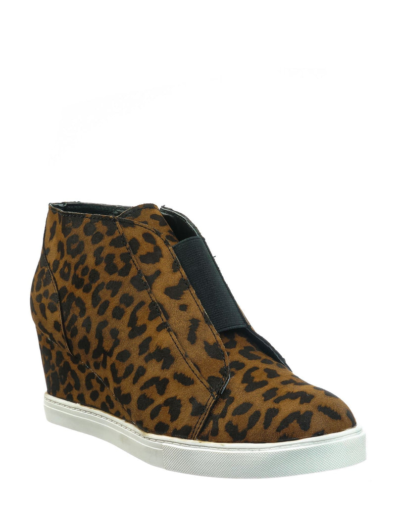 Tan Leopard / Vesper Tan Leopard Hidden Wedge Heel Sneakers - Women Sporty Elastic Shootie