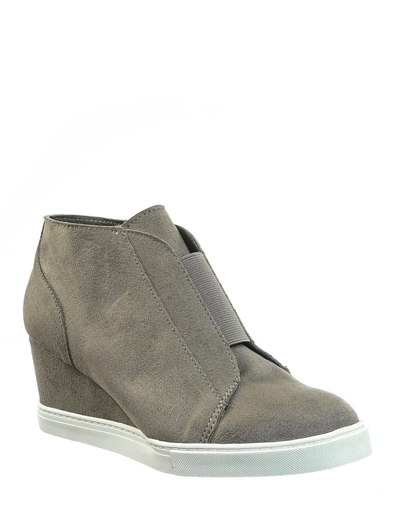 Gray Isu / Vesper Gray Isu Hidden Wedge Heel Sneakers - Women Sporty Elastic Shootie