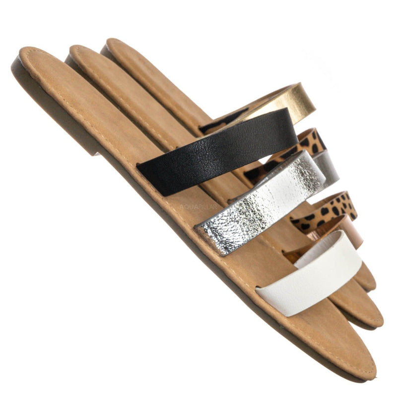 Waterfront70 3 Strap Open Toe Slide In Sandal - Women Color Block Slippers
