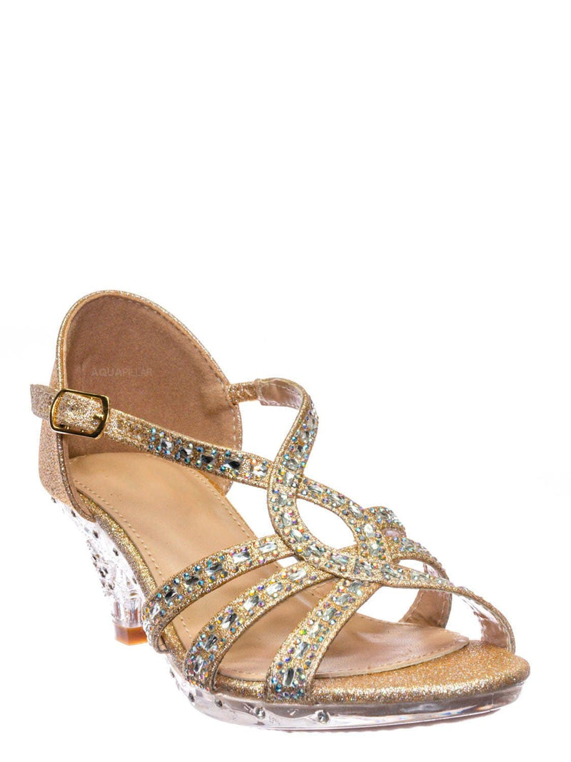 Champagne Gold / Lyla6 Girls Rhinestone Crystal Sandal- Childrens Open Toe Glass Heel Sandals