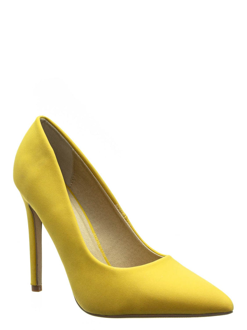 Yellow Nubuck / Cindy Classic Pointed Toe Dress Pump - Womens High Heel Stiletto Formal Shoes