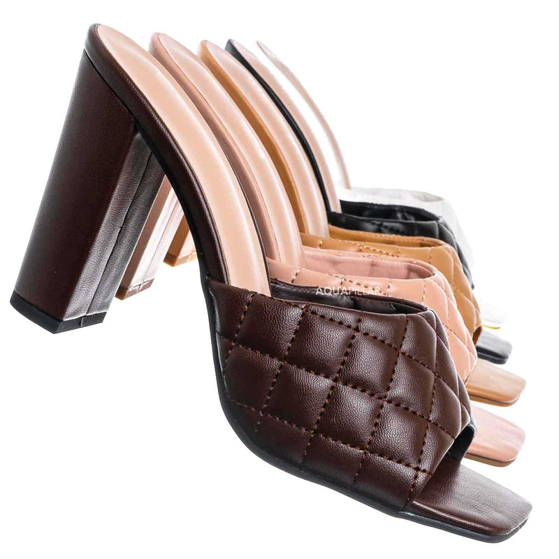 Brown / Pita1 Quilted Block Heel Mule - Women's Slide In Open Square Toe Shoes