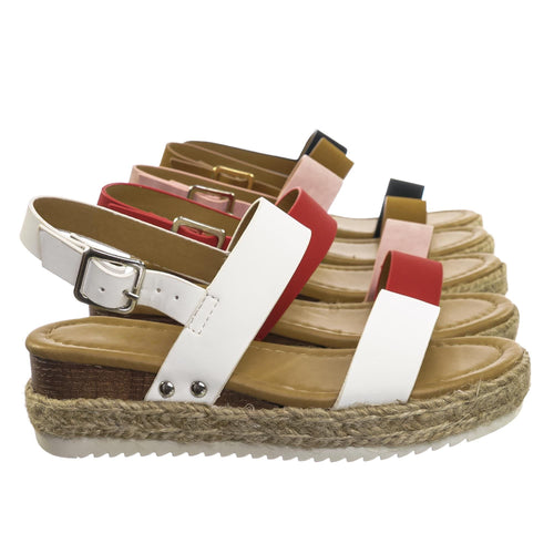 Sensational2K White Pu Children Espadrille Flatform Sandal - Girl Kids Open Toe Platforms