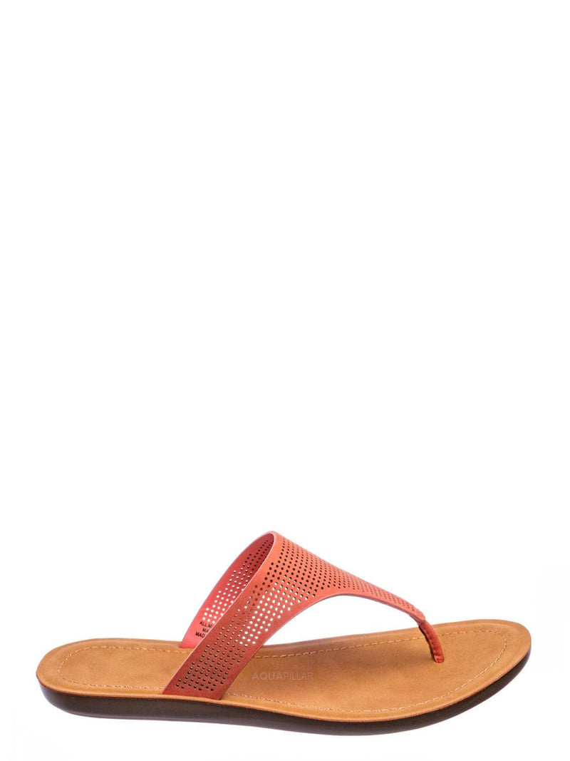 Coral Orange / Mikayla Perforated Footbed Thong Sandals - Womens Light Weight Yoga Slides