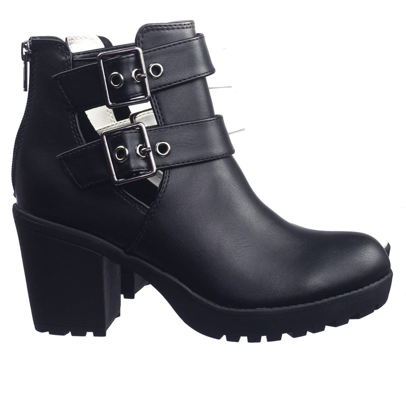 Recent Blackpu Open Buckle Side Slit Cutout Threaded Lug Sole Ankle Combat Bootie