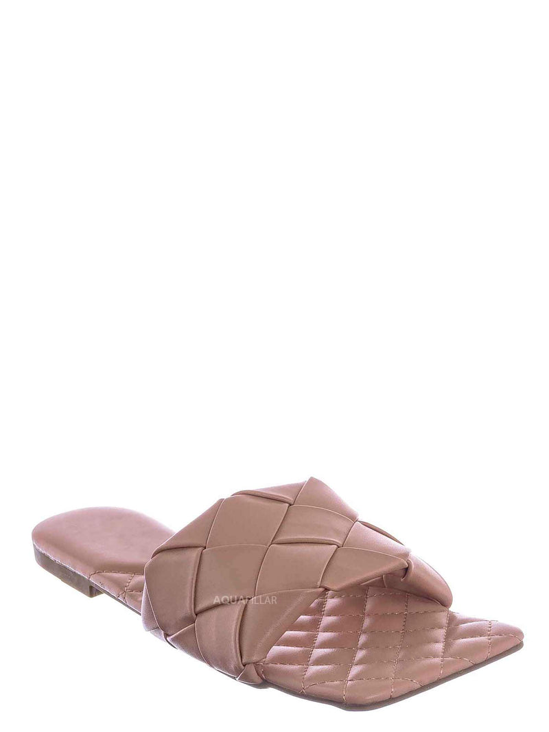 Blush Beige / Padded18 Wide Woven Slide Sandal - Womens Elongated Open Square Toe Slipper Mule