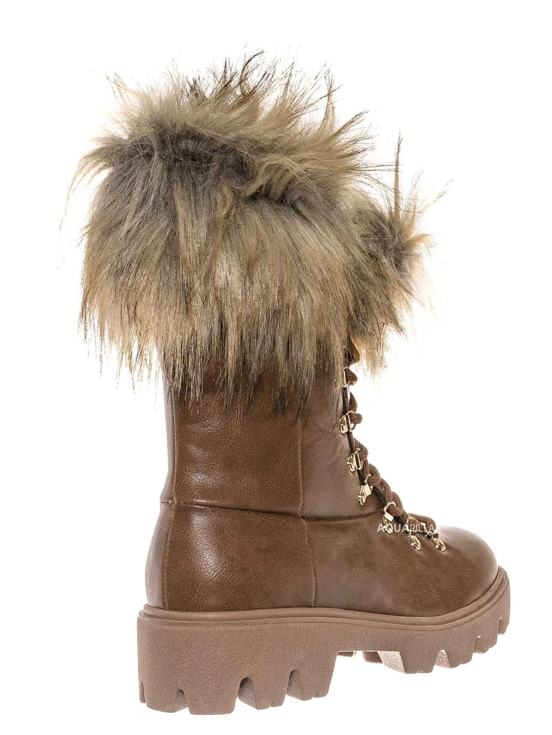 Tan Brown / Force11 Faux Fur Combat Boots - Fluffy Military Vegan Furry Shoes