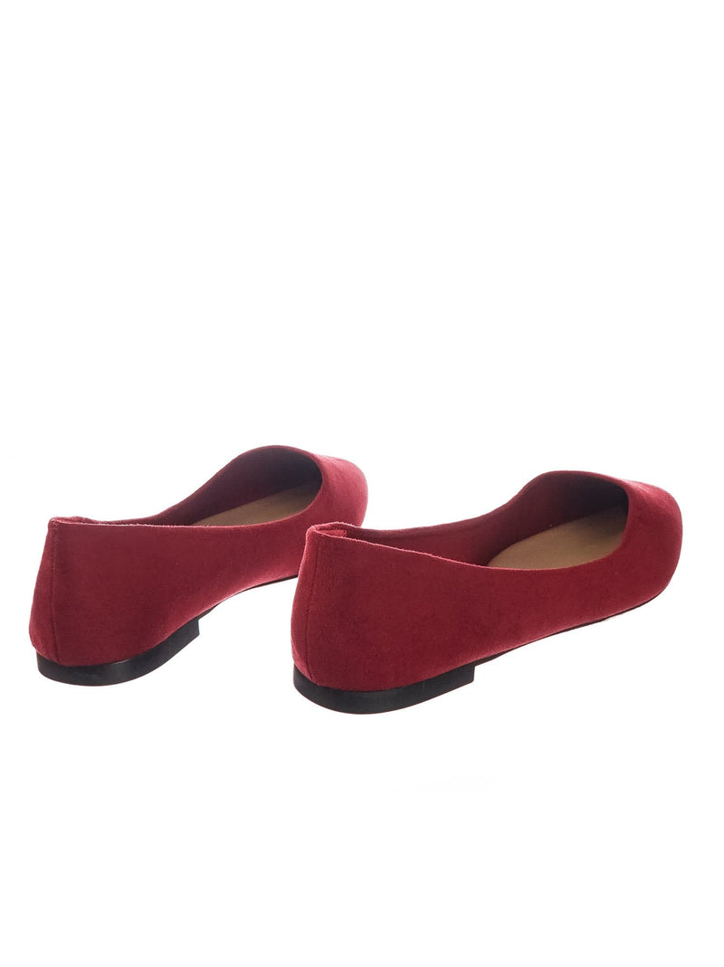 Cherry Red / Hold Pointed Toe Foam Padded Ballet Flat - Wide Width Women Comfort Loafers