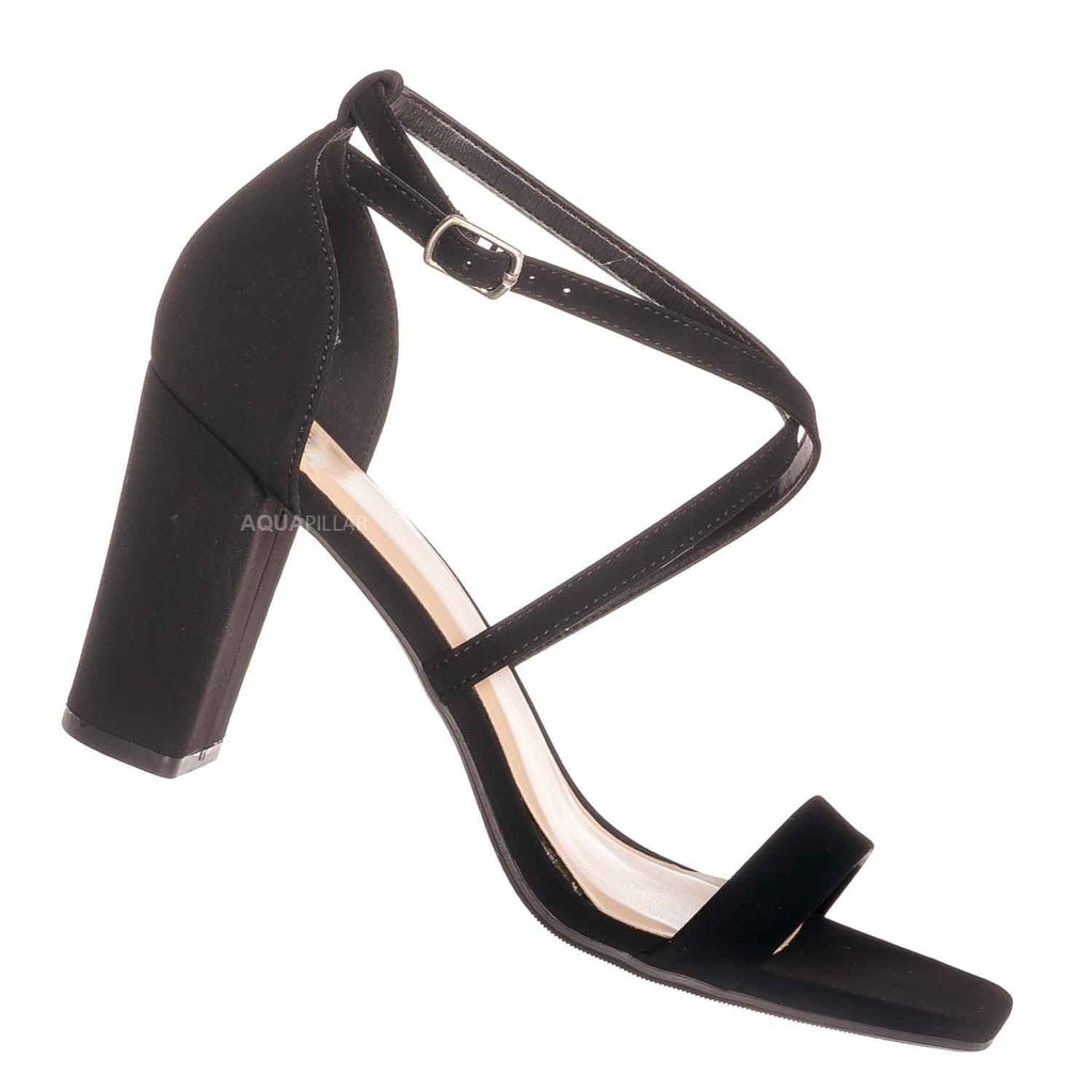 Black nubuck / Flyaway Retro Block Heel Thin Strap Sandal - Women Dress Shoes