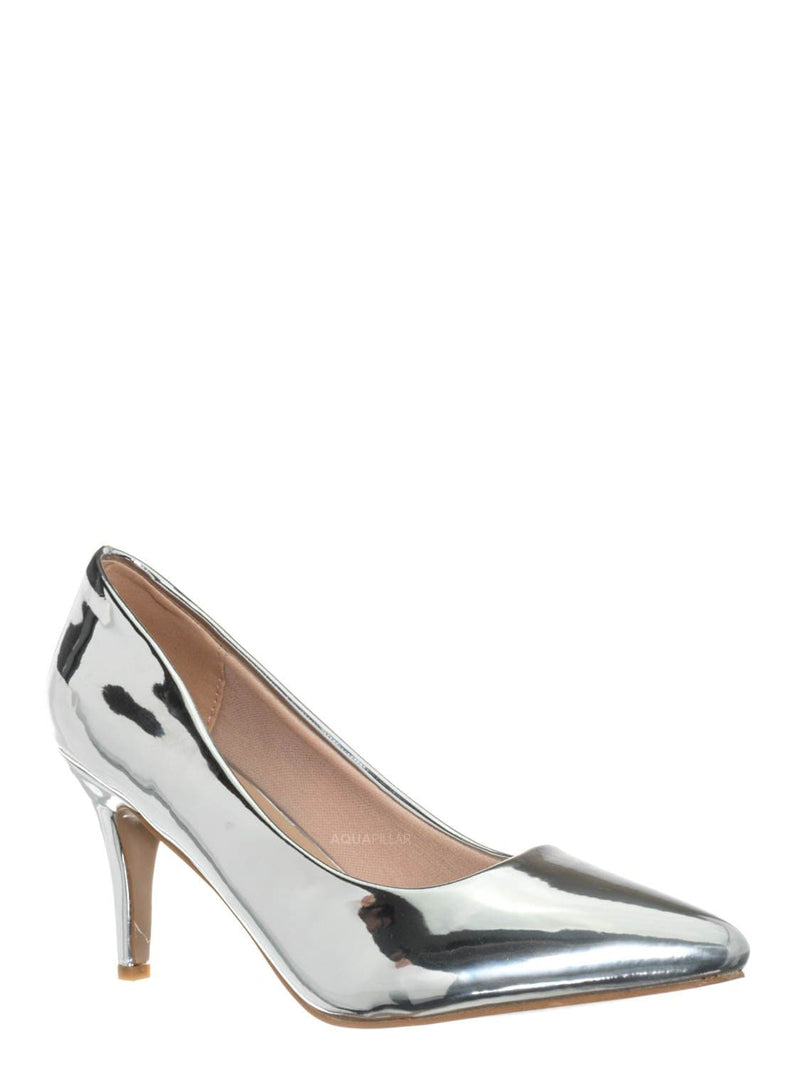 Silver / Sanzi2 Low Stiletto Heel Pumps - Slip On Dress Shoes Solid Or Animal Prints