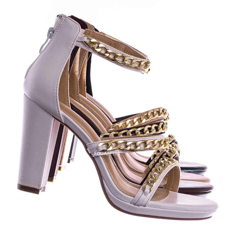 White / Choo28 High Heel Chain Sandal - Womens Block Heel Strappy Open Toe Shoes