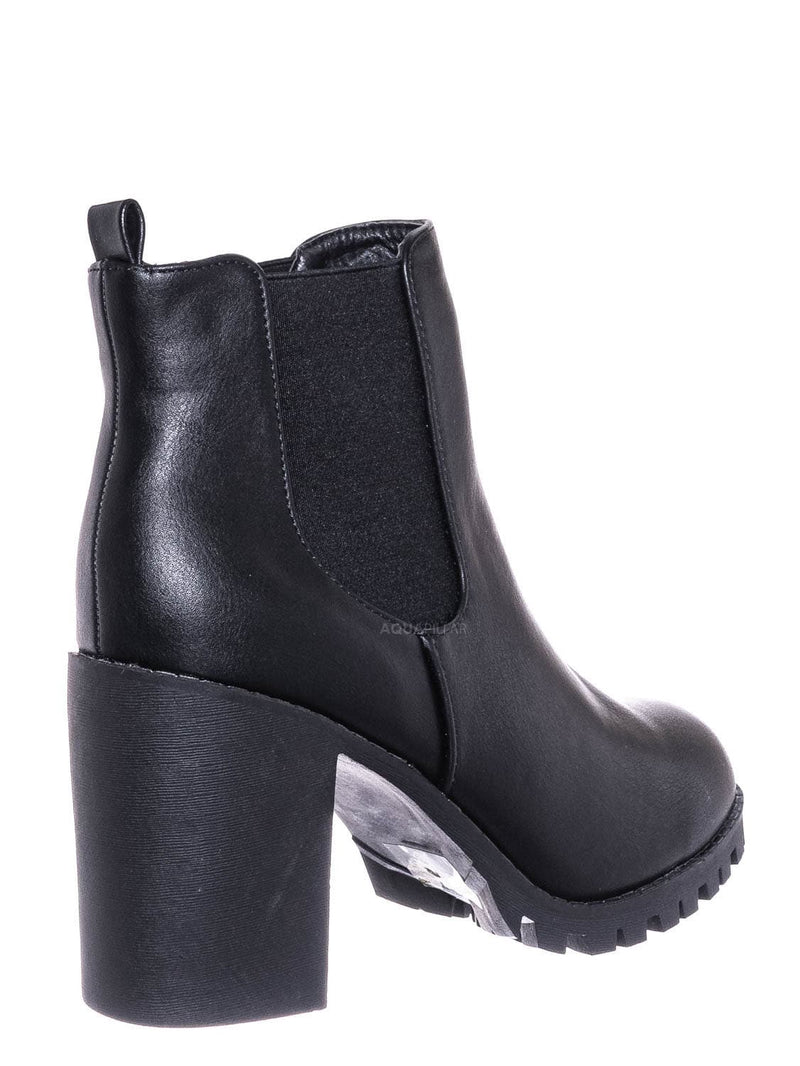 Black / Michi72 Block Heel Chelsea Bootie - Threaded Lug Sole Ankle Dress Boots