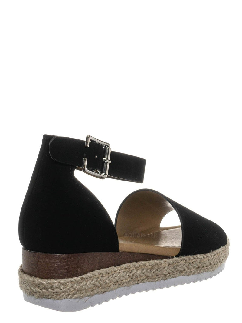 Black Nubuck / Sensational6k Kids Jute Braid Espadrille Flatform - Girls Ankle Strap Sandal