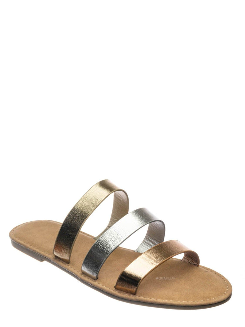 Metallic Multi / Waterfront70 3 Strap Open Toe Slide In Sandal - Women Color Block Slippers