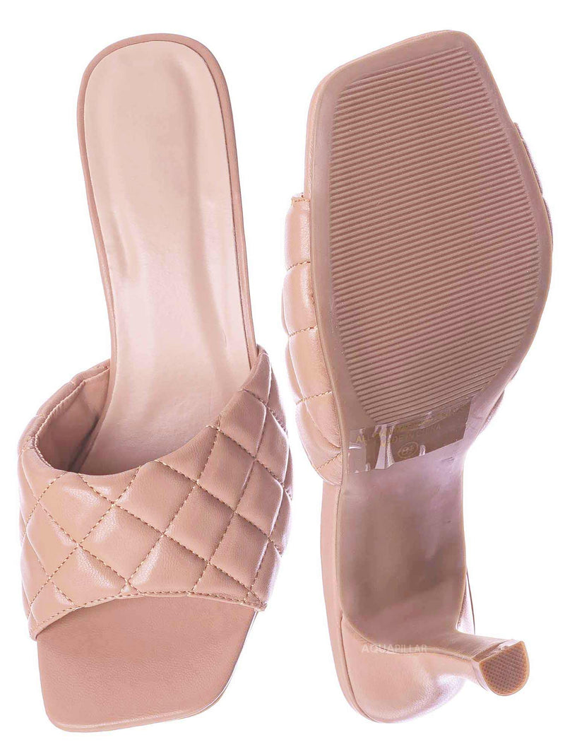 Nud Beige / Bora66 High Quilted Mule - Womens Slide In Diamon Puffy Slipper