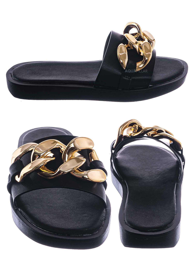 Black / SideKick11 Padded Flatform Slpper w Oversize Chain - Womens Molded Footbed Slide