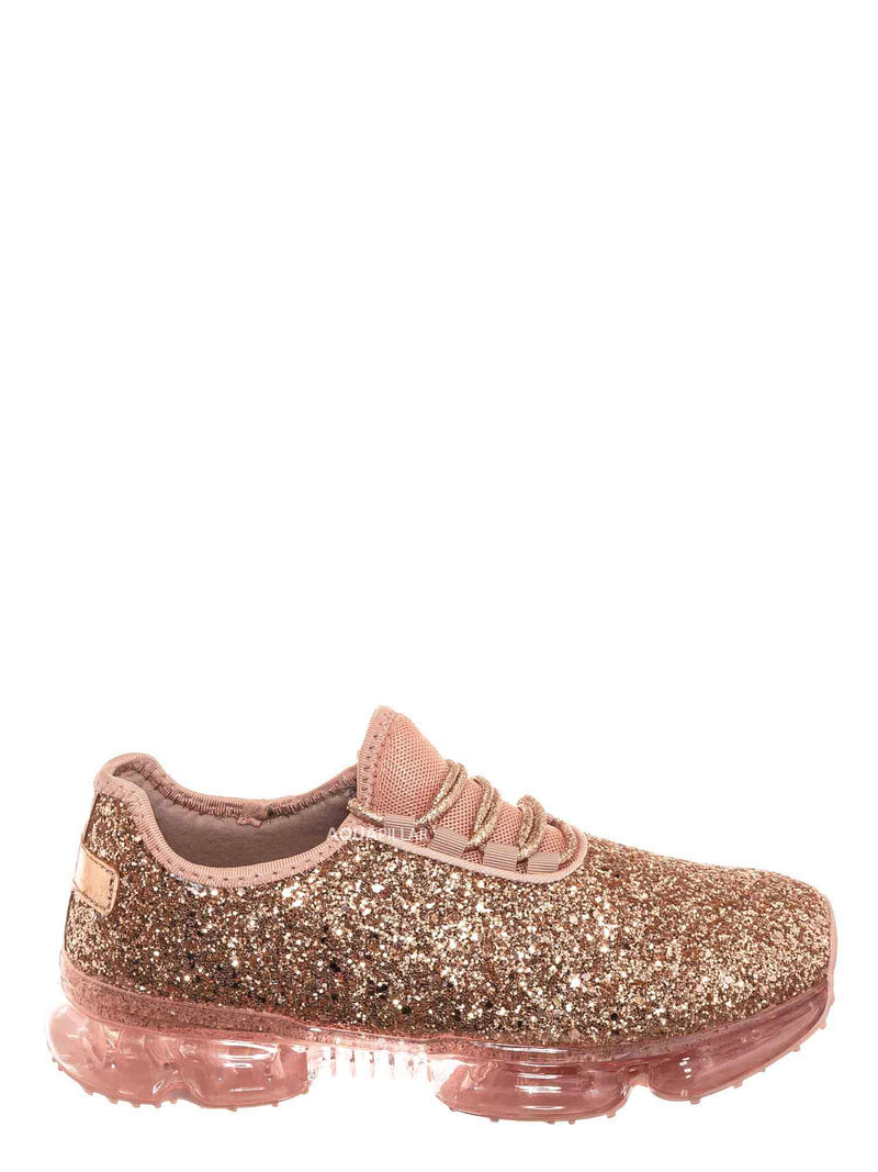 Rosegold / Flow28 Glitter Sneaker w Lucite Clear Outsole