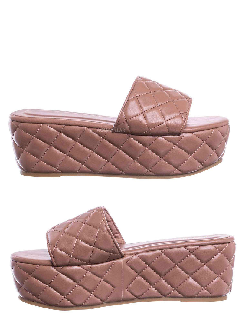 Terracotta Pink / Purchase23 Quilted Flatform Slipper Mule - Platform Diamond Stitch Slide Sandals