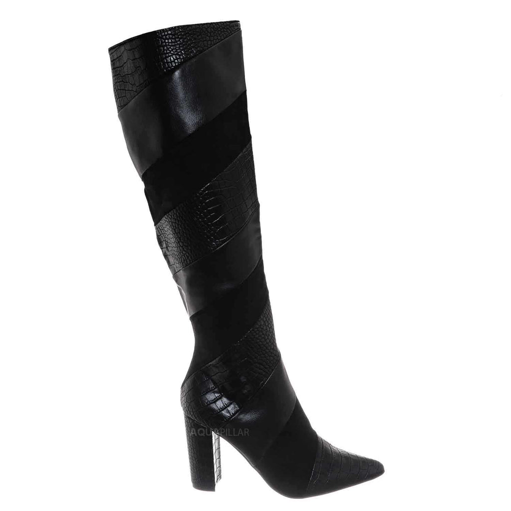Black / Bellflower25 Faux Fur Lined Knee High Dress Boots